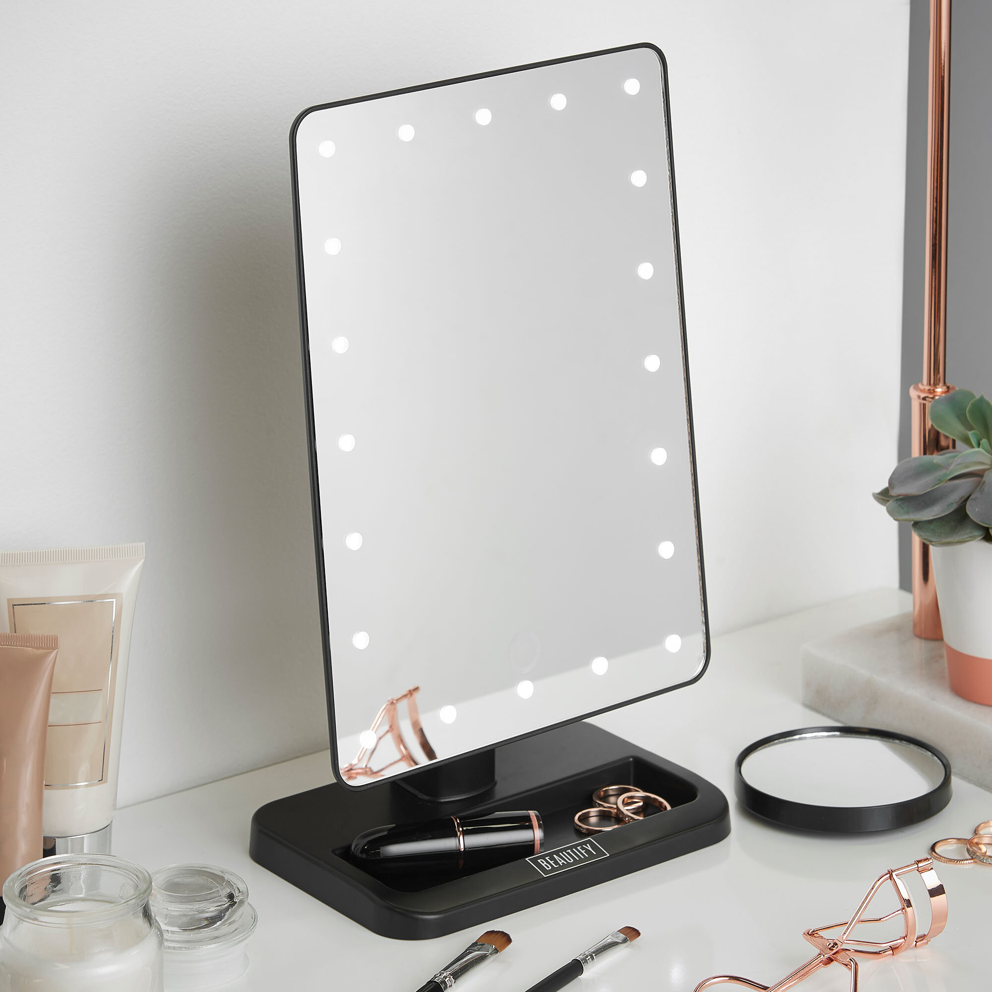 lighted dimmable vanity mirror fold led makeup tri