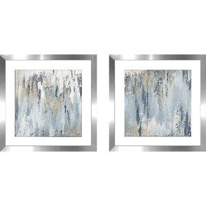 U0027Blue Illusion Square Iu0027 2 Piece Framed Acrylic Painting Print Set. U0027