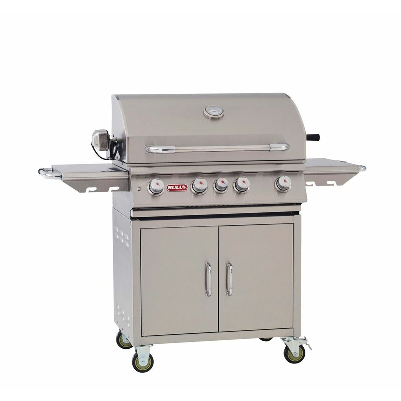 Bull Outdoor Products Angus 4-Burner Convertible Gas Grill with Cabinet