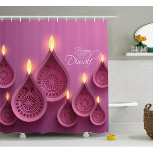 Ponce Diwali Paisley Design Burning Candles For Religious Festive Celebration Carvings Single Shower Curtain
