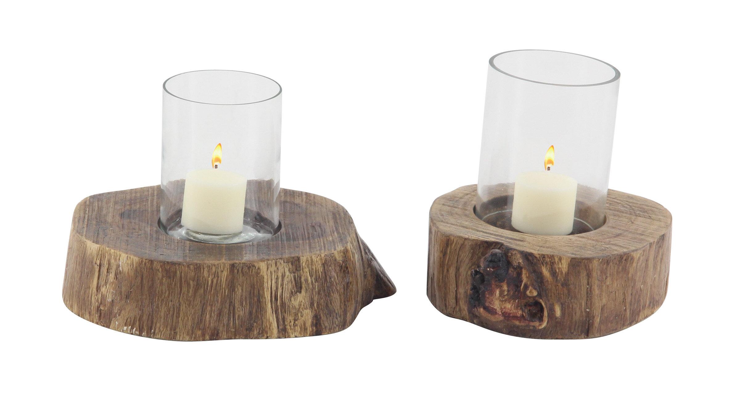Home Furniture Diy Mango Wood Hurricane Glass Candle Holder Pillar T Tea Light Votive Centerpiece Kisetsu System Co Jp