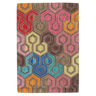 Low priced Geodesic Hand Hooked Wool Brown/Pink Area Rug By Dash and Albert Rugs
