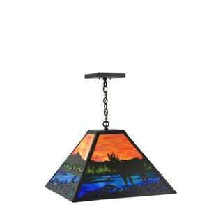 Meyda Tiffany Moose at Lake 3-Light Pendant