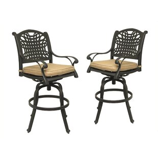 Fleur De Lis Living Campion 30'' Patio Bar Stool with Cushion (Set of 2)