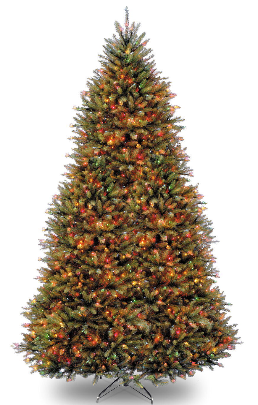 Three posts fir hinged green artificial christmas tree