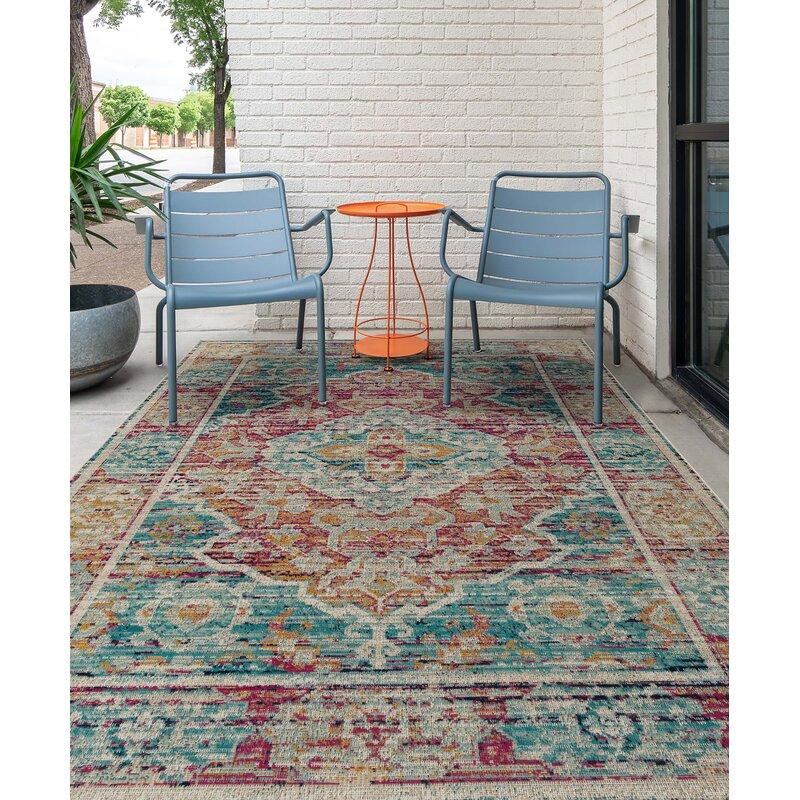 Bungalow Rose Atherton Oriental Red Blue Beige Indoor Outdoor Area Rug Reviews Wayfair