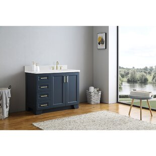 Sawyer 43 In. Right Offset Single Rectangle Sink Vanity In Grey By Canora Grey