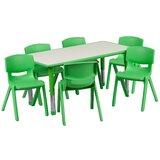"7 Piece Rectangular Activity Table & 21.25"" H Chair Set"