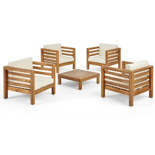 Zaina Outdoor 5 Piece Deep Seating Group with Cushions by Longshore Tides