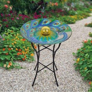 18 Outdoor Gl Pea Solar Birdbath