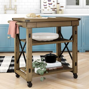 Gladstone Kitchen Cart with Wooden Top Laurel Foundry Modern Farmhouse