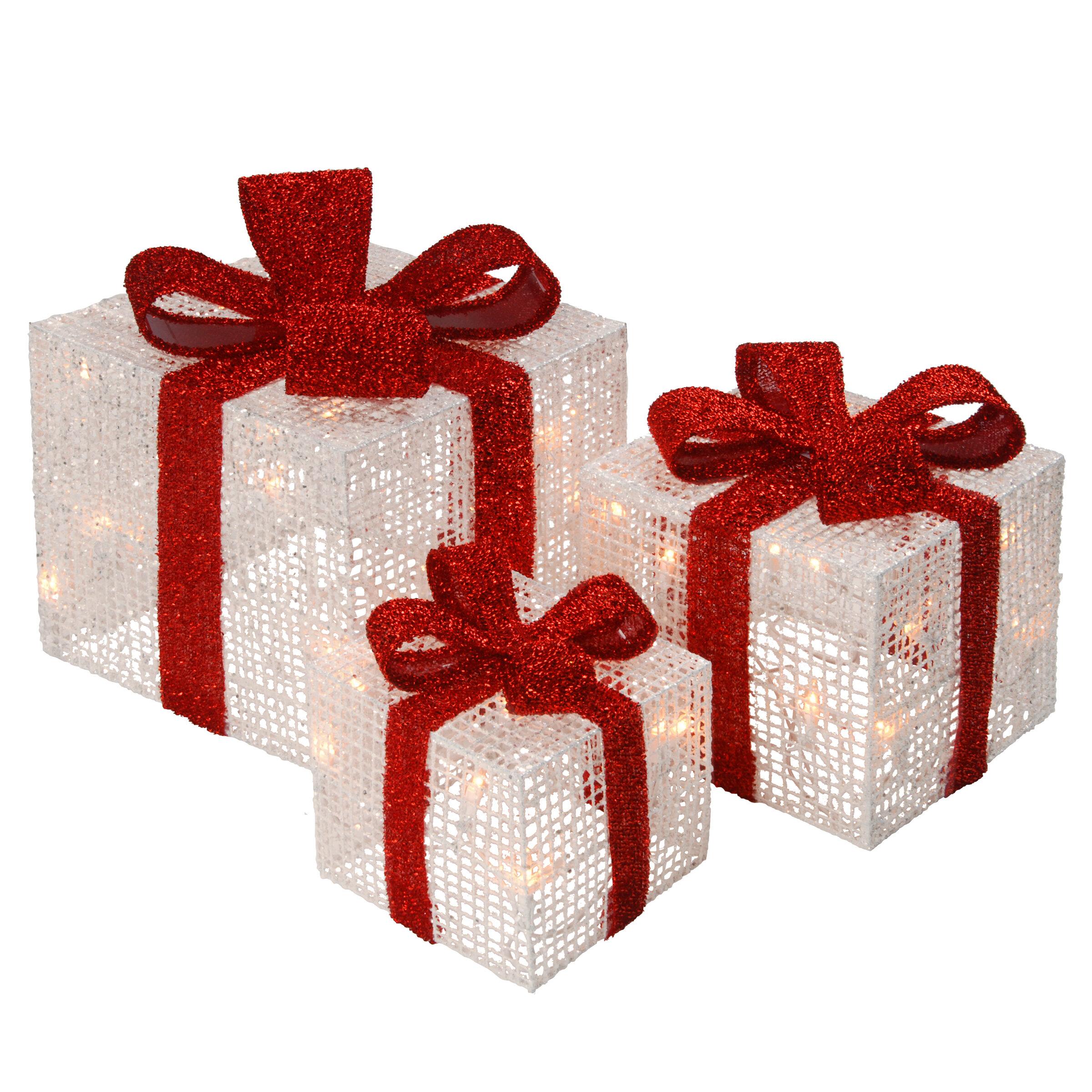 Hashtag Home 3 Piece White Thread Gift Box Lighted Display Reviews Wayfair