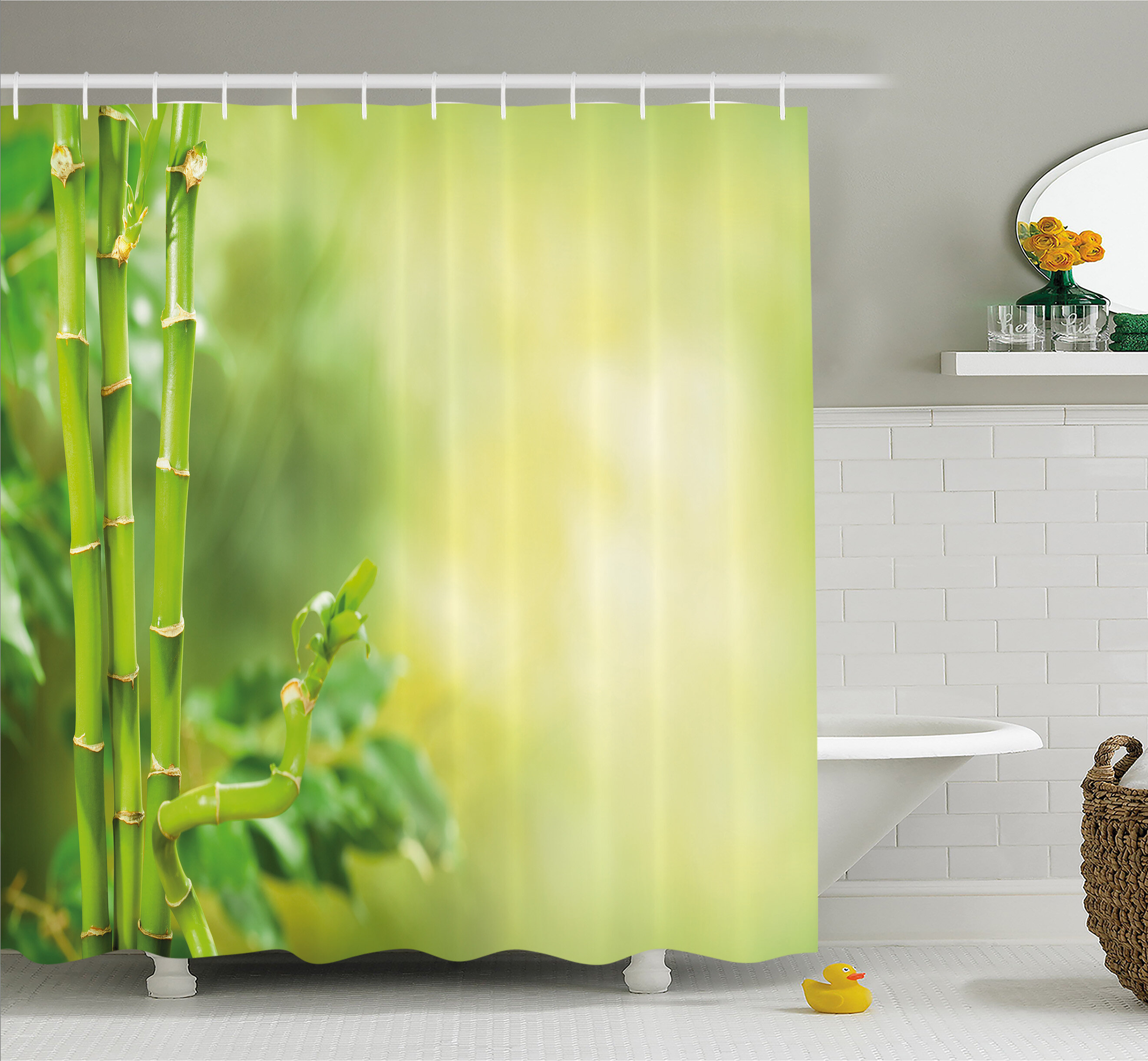 Ambesonne Spa Beautiful Asian Bamboos With Other Tree Branches And Bushes Image Shower Curtain Set
