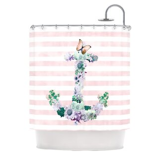 Floral Anchor Single Shower Curtain