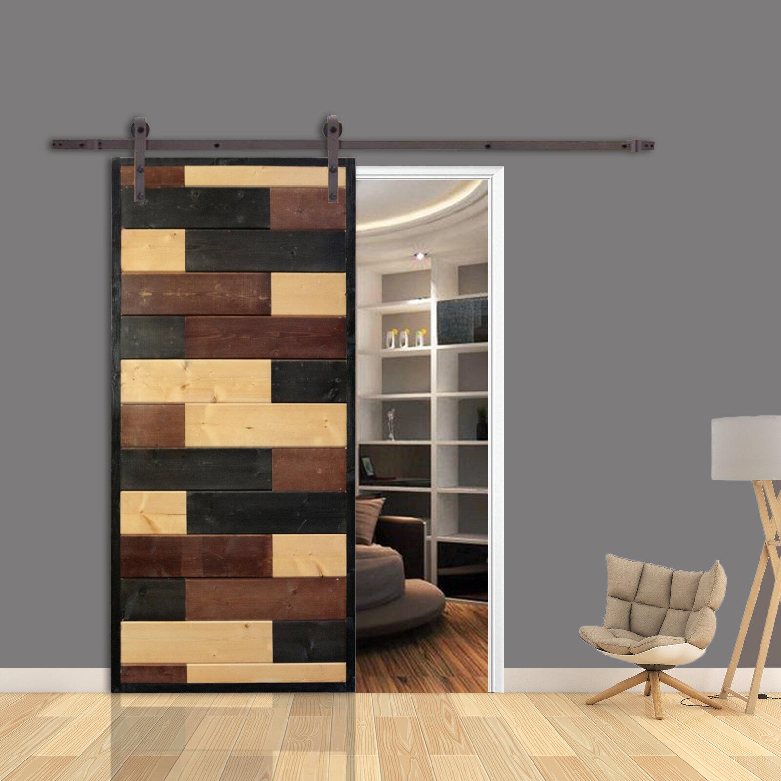 Calhome Mosaic Room Divider Knotty Pine Wood Slab Interior Barn Door Wayfair