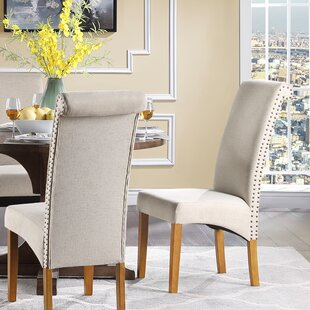 Laufer Linen Upholstered Parsons Chair in Beige Set of 2 by Red Barrel Studio
