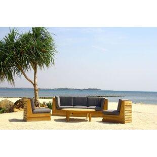Seaside 6 Piece Teak Sunbrella Sectional Set with Cushions by IKsunTeak