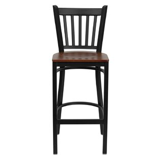 Lomonaco Metal Barstool Black Vertical Back Winston Porter