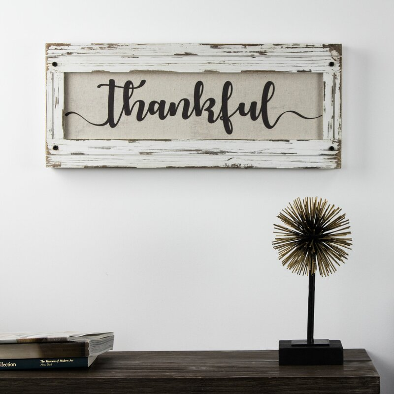 u0027Thankfulu0027 Wood Framed Inspirational Canvas Sign Farmhouse Wall Décor. u0027 & Gracie Oaks u0027Thankfulu0027 Wood Framed Inspirational Canvas Sign ...