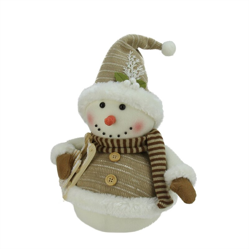 alpine chic snowman with sled and mistletoe christmas decoration