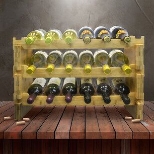 Sorbus 3-Tier Stackable Bamboo 18 Bottle Tabletop Wine Bottle Rack