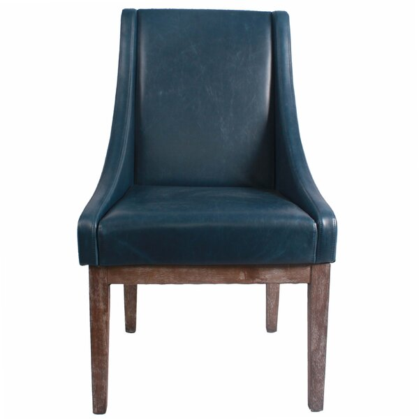 Gentil Turquoise Leather Chair | Wayfair