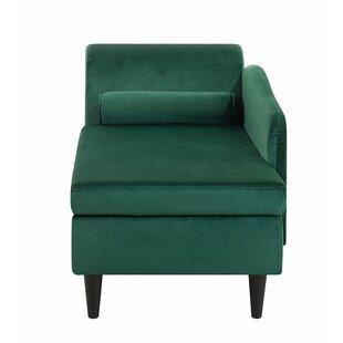 Left Hand Velvet Chaise Lounge Emerald Green Kristi by Everly Quinn