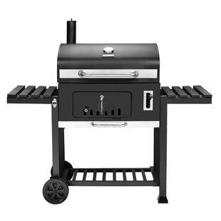 27 Deluxe Charcoal Grill With Side Shelves