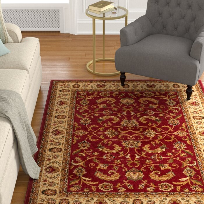 Caterina Traditional Border Red Area Rug