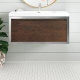 Sandra 36 Wall-Mounted Single Bathroom Vanity Set (Chrome White) by Foundstone