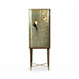 Curated Handpainted Birds on Foil Bar Cabinet by Jonathan Charles Fine Furniture