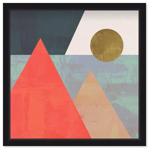 Scenic 'Pyramids' Framed Graphic Art Print - Abstract Canvas Wall Art