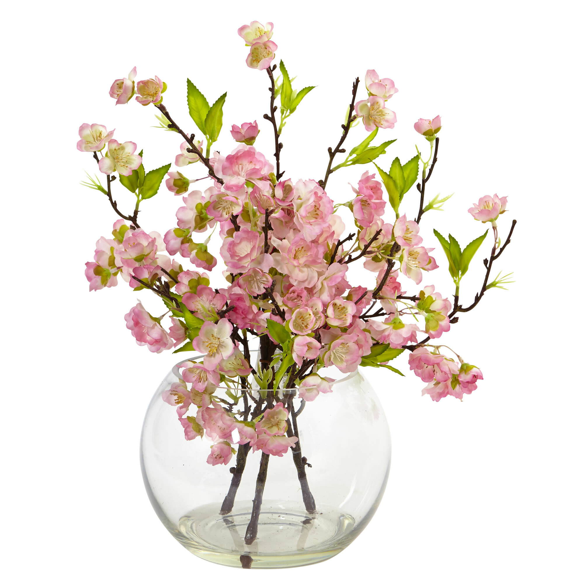 Nearly Natural Cherry Blossom Fl Arrangement In Decorative Vase Reviews Wayfair