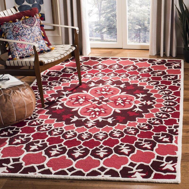 Bungalow Rose Bellagio Hand Tufted Wool Red Area Rug Wayfair