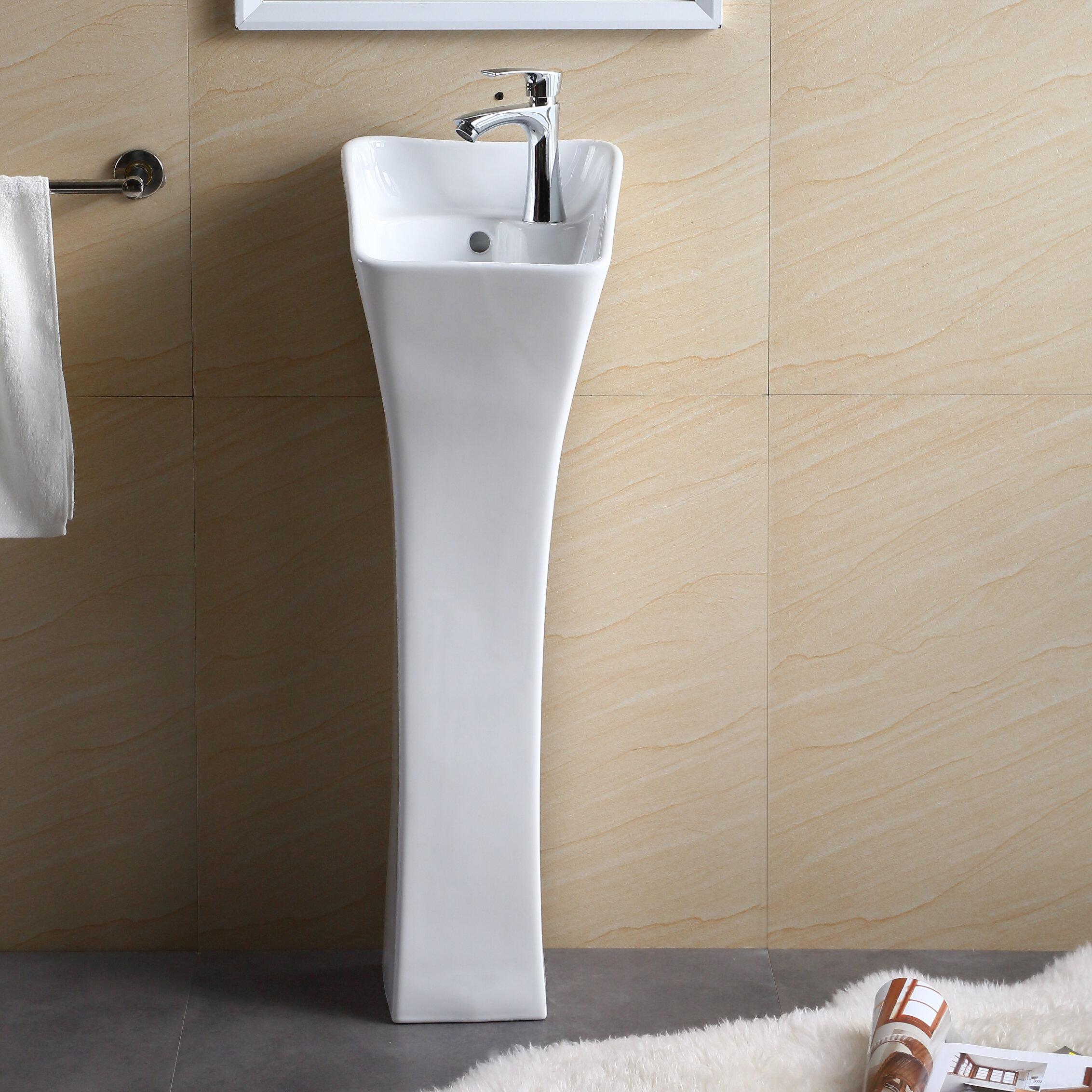 Fine Fixtures 34 25 Tall Vitreous China Rectangular Pedestal Bathroom Sink With Overflow Reviews Wayfair