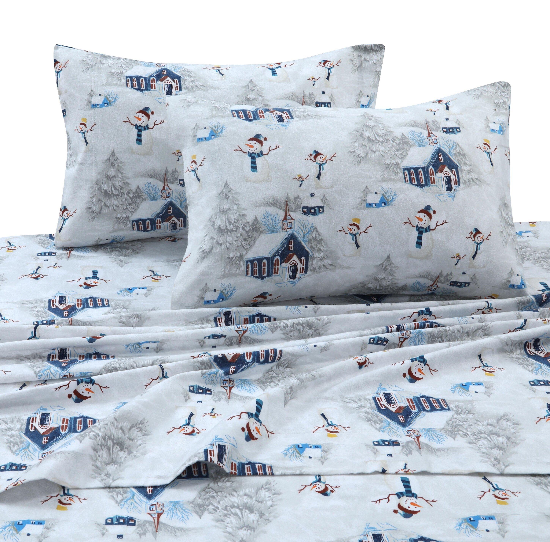 The Holiday Aisle Snowman 170 Gsm Printed Flannel Extra Deep Pocket 100 Cotton Sheet Set Reviews Wayfair