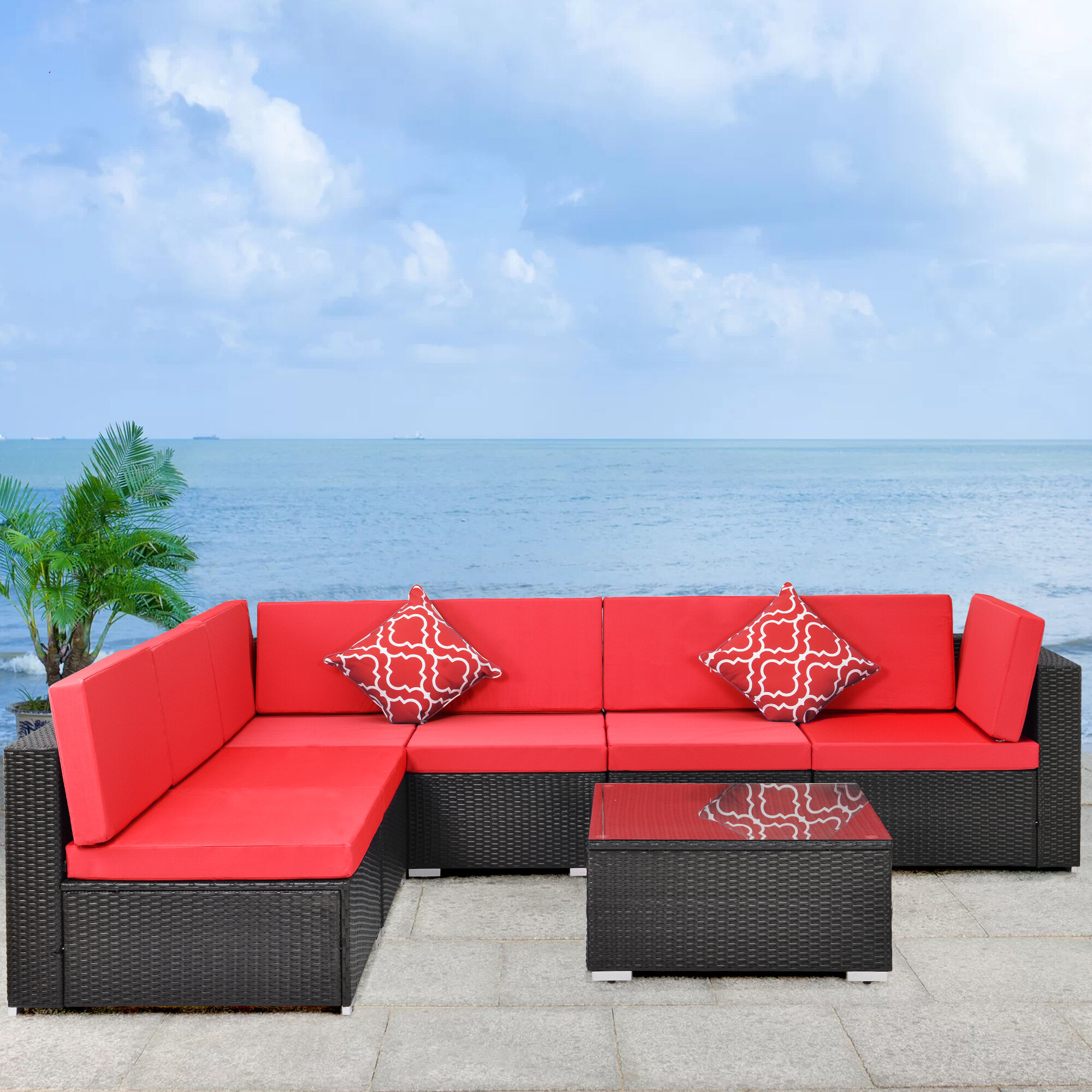Latitude Run 7 Piece Rattan Sofa Seating Group With Cushions Wayfair