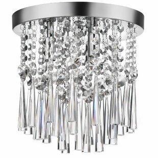Willa Arlo Interiors Deverel 3-Light Crystal Flush Mount