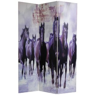 Oriental Furniture Horses 3 Panel Room Divider