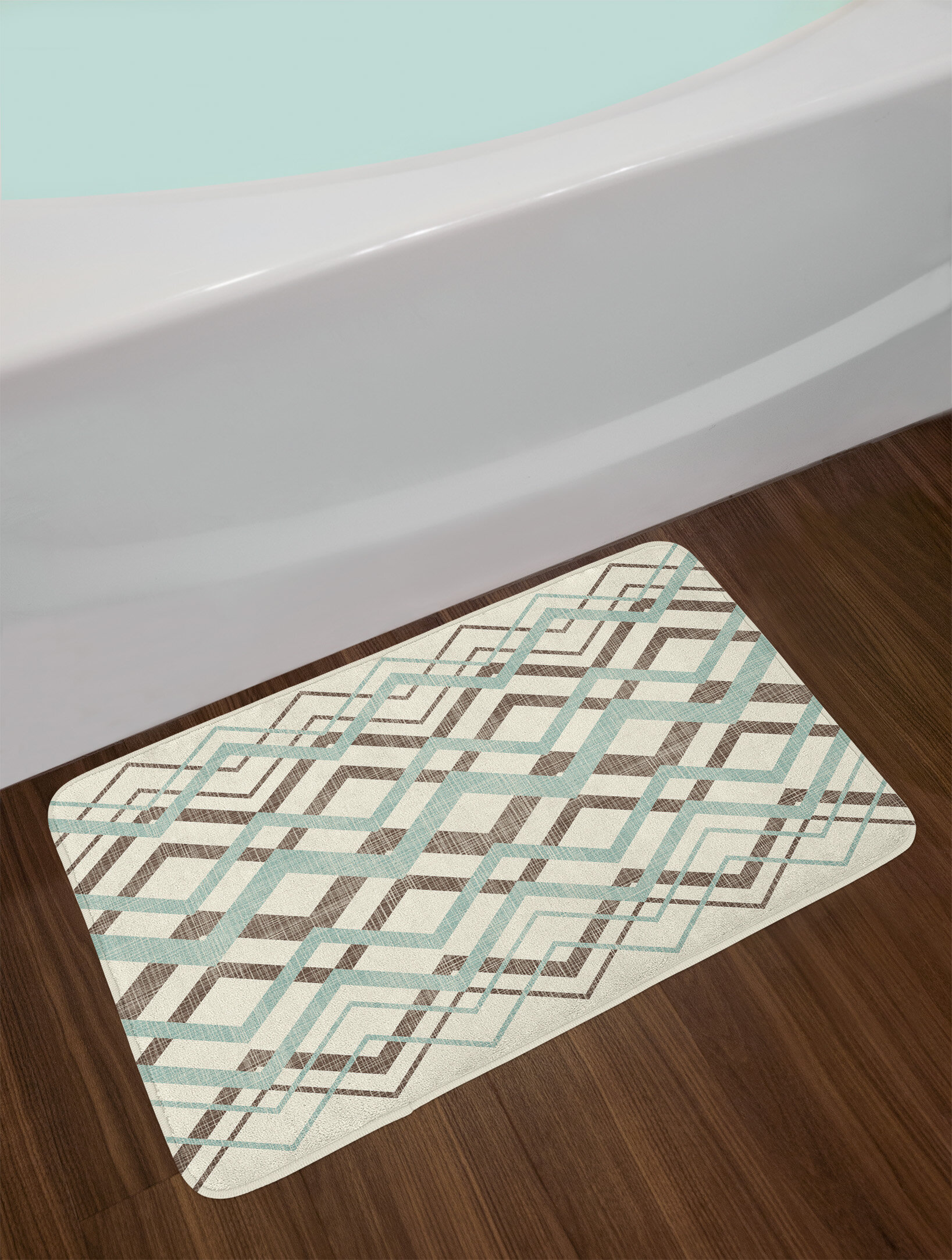 East Urban Home Chevron Overling Lines Thin And Thick Old Clical Non Slip Plush Bath Rug Wayfair