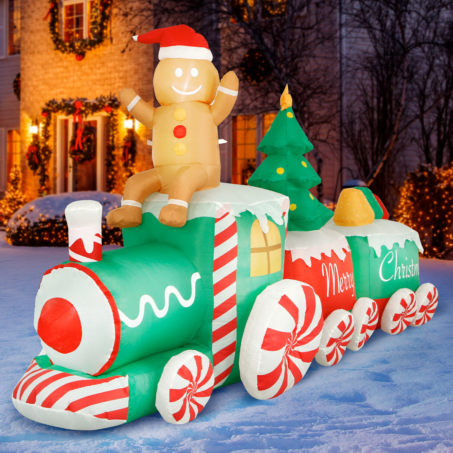 10 Ft Inflatable Christmas Train Outdoor Decoration Lighted Blow Up Inflatable Yard Decorations With Fan And Stakes