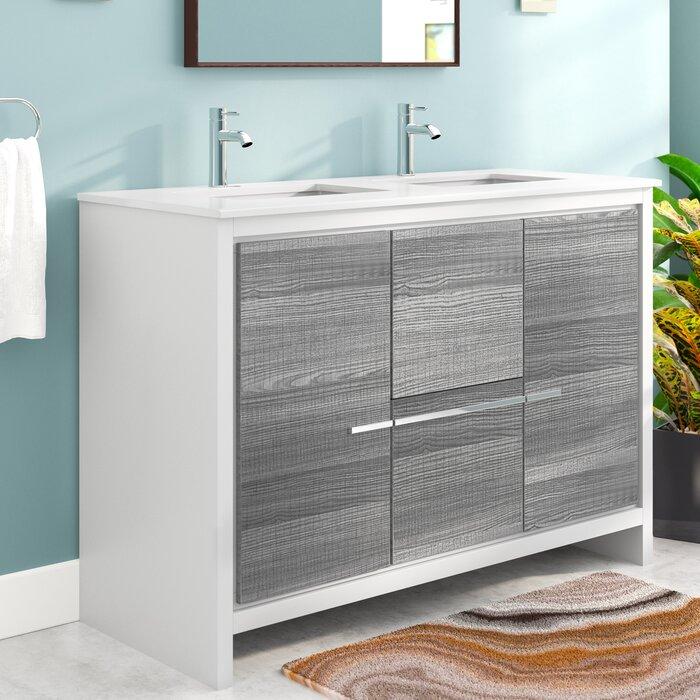 Amazing Bosley 48 Double Sink Modern Bathroom Vanity Set Download Free Architecture Designs Xoliawazosbritishbridgeorg