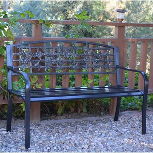 Flowers and Bird Curved Back Metal Park Bench
