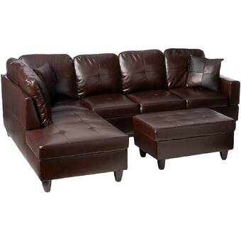 Ebern Designs Alans 103 5 Wide Faux Leather Sofa Chaise With Ottoman Wayfair