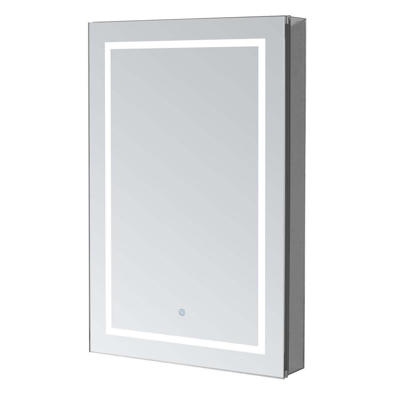 Orren Ellis Sechura Recessed Or Surface Mount Frameless Medicine Cabinet With 3 Adjustable Shelves And Led Lighting Reviews Wayfair
