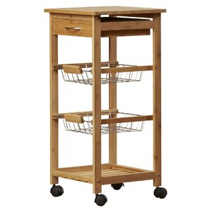 Girard Kitchen Cart with Bamboo Top
