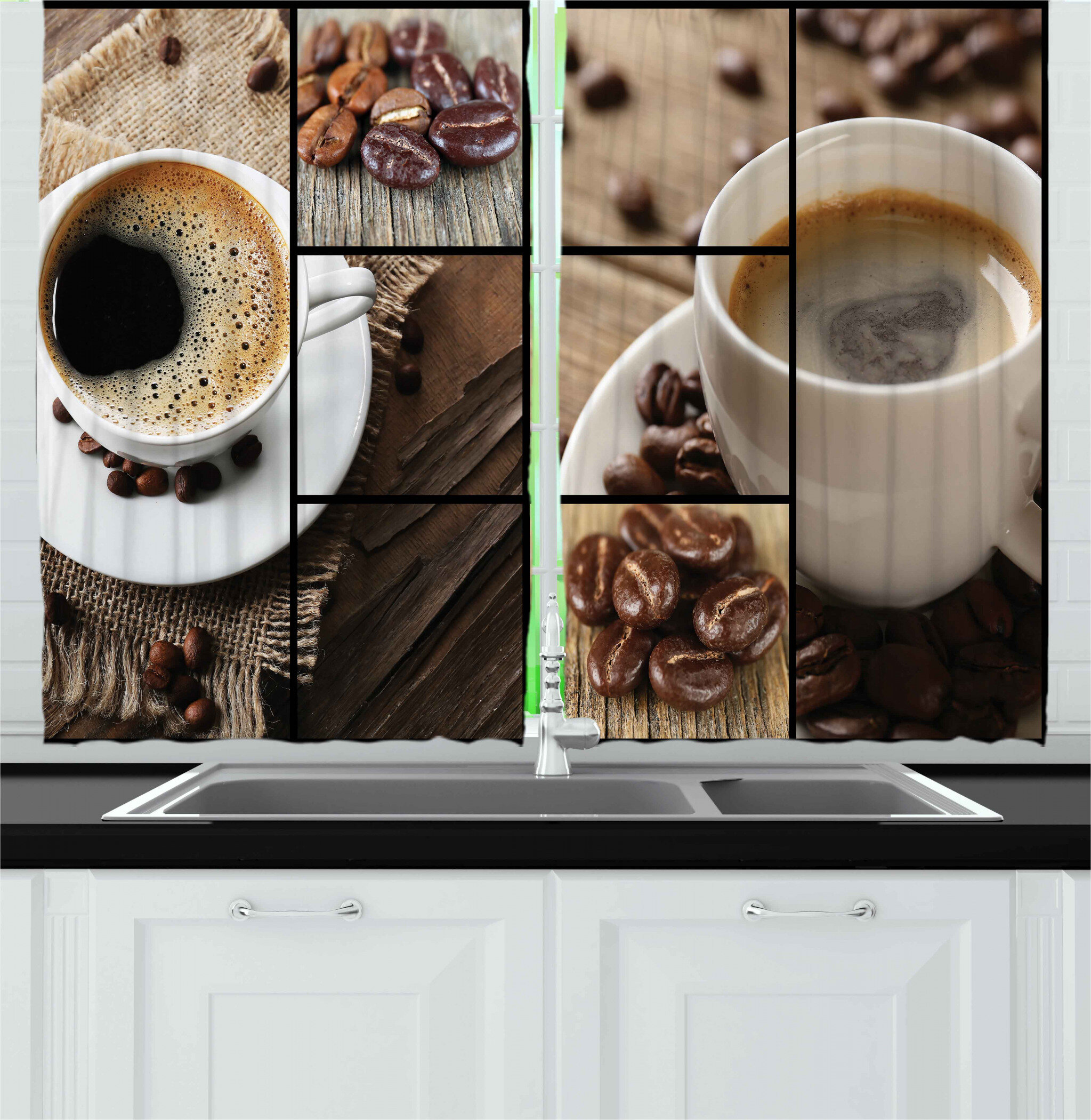 East Urban Home 2 Piece Coffee Themed Collage Close Up Mugs Beans On Wooden Table Aromatic Roasted Drink Kitchen Curtain Wayfair