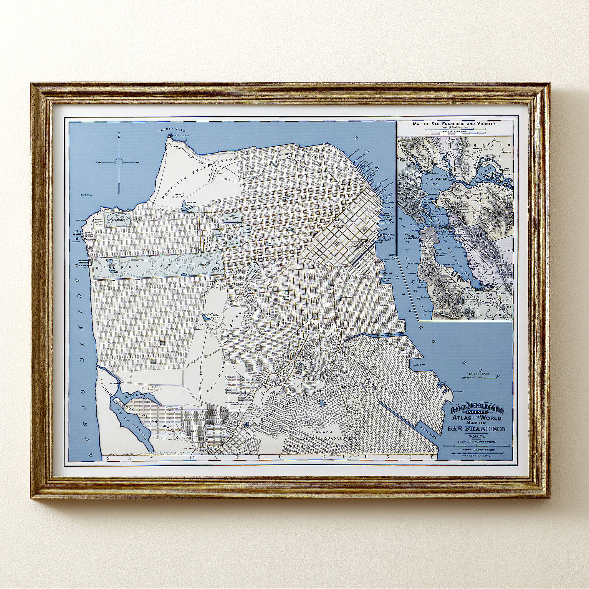 graphic regarding San Francisco Maps Printable named San Francisco Map Framed Print