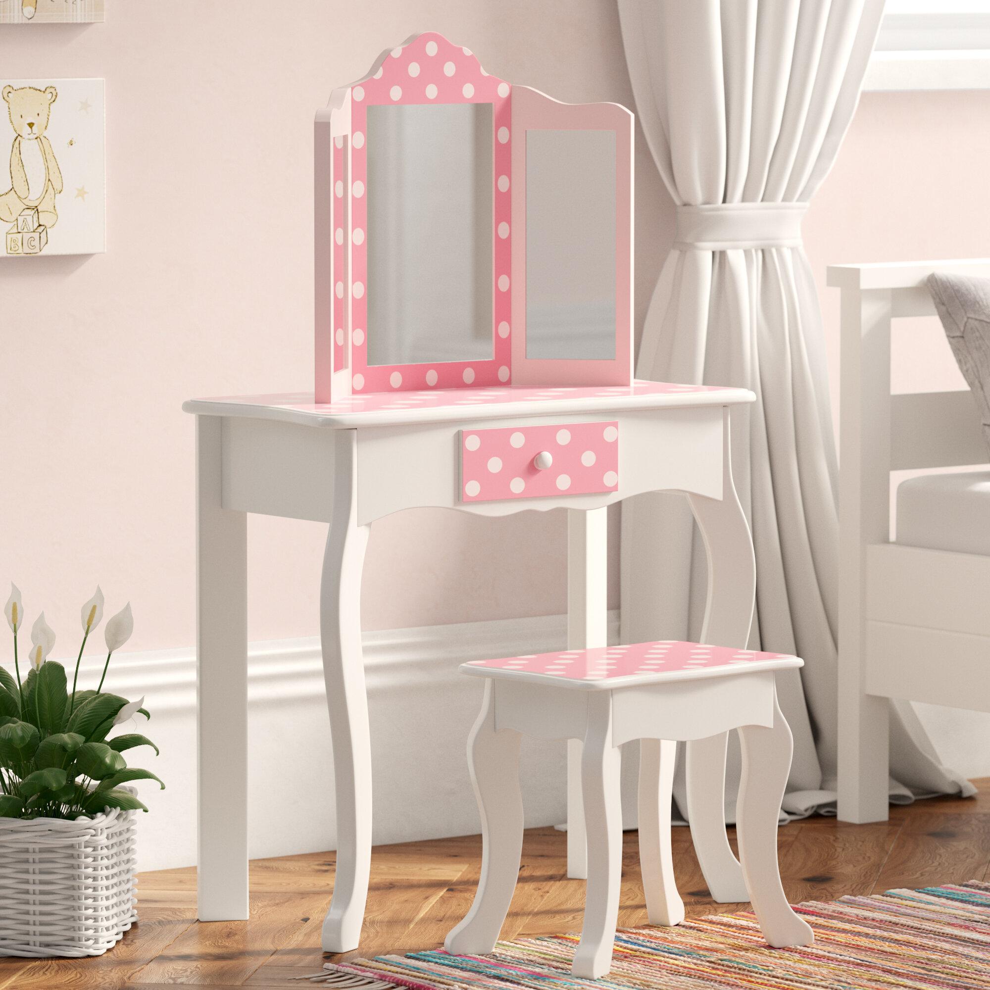 Kadence Childrens Wooden Vanity Dressing Table Mirror Stool Set