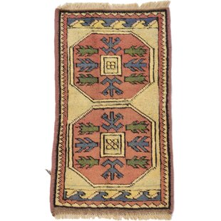 Affordable Price One-of-a-Kind Glenaire Hand-Knotted Runner 1'9 x 2'11 Wool Cream/Peach/Green Area Rug By Isabelline